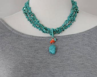 Bib Necklace, Turquoise Necklace, Coral and turquoise Necklace, Gift for her, Summer Necklace, Birthday gift, Everyday use necklace