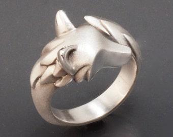shaggy wolf. silver