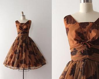vintage 1950s dress // 50s brown evening dress