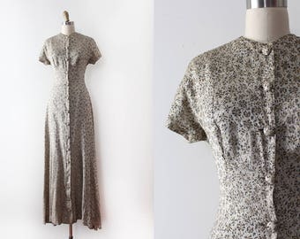 vintage 1940s gown // 40s gold brocade gown