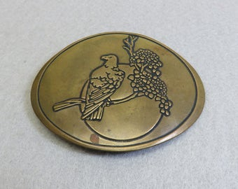 Eagle Brass Buckle, Vintage Buckle, Engraved Brass Buckle