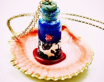 1700s Jane Austen Victorian cork bottle sparkly love potion gold plated necklace wedding favors bridesmaid gifts bride