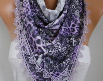 Purple Leopard Scarf,Fall Scarf Animal Scarf,Cowl Scarf with Lace Edge Gift Ideas For Women Fashion Accessories - fatwoman