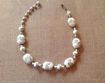 Milk Glass Beaded Necklace Hand Knotted 16 inches long