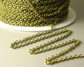 CHAIN-AB-2.2x2 - Grade A Solid Antiqued Brass Chain - Soldered Links - 10 feet