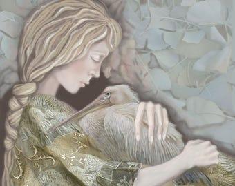 Woman, Pelican, Nature, Bird, Archival Print, Animal Love, Home Decor