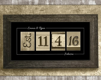 Wedding Date Sign, Wedding Gift, Gift for Wife, Anniversary Gift, Personalized Gift, Gift for Her, Gift for Couples, Number Photo Collage