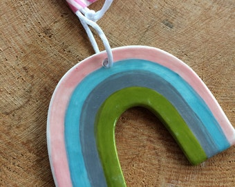 Hanging Ceramic Rainbow /Ceramic Decoration/ornament.Baby gift.Porcelain Rainbow Decoration.Pastel Rainbow.Made in Wales,Uk