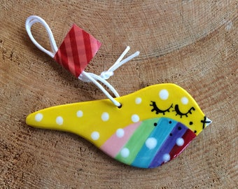 Hanging Ceramic Rainbow Bird/Ceramic Decoration/ornament.Easter gift.Porcelain ornament/Wall Hanging/Yellow Rainbow Bird.Made in Wales,Uk