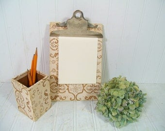 Desk Set of 2 Pieces Bohemian Wallpaper - Vintage Stenciled Paper Office Memo Clipboard with Matching Pen / Pencil / Accessories / Tools Box