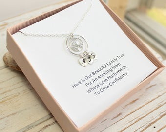 Sterling Silver Mother Bird Necklace with Family Tree Initials on Sentiment Card... You Choose How Many Initials