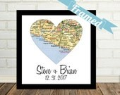 Unique Gay Wedding Gift for Gay Couple Map Art FRAMED Heart Map Art Gay Marriage Gift Gay Couples Gift Map Heart Map LGBT Wedding Gift