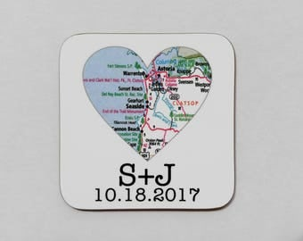 Personalized Wedding Coasters Wedding Favors Party Favor Bridal Shower Favor Wedding Reception Map Heart Coaster Custom Coaster