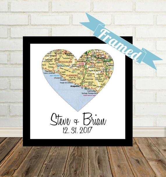 Unique Gay Wedding Gift for Gay Couple Map Art FRAMED Heart Map Art ...