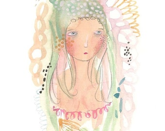 Girl illustration, original painting, original art, female nudity, abstract art