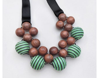 Large Bead Necklace / Wooden Necklace / Chunky Wood Necklace / Bib Necklace / Stripy Fabric and Wood Necklace / Lightweight Necklace