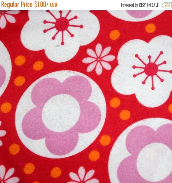Retro Flower Dot Flannel Fabric for Jo-Ann Fabrics 100% Cotton Quilt Apparel Sewing Craft Retro Tossed Floral and Dots on Red