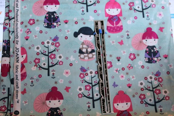 "Asian Doll Fabric,Doll Fabric,Jo-Ann Fabrics,100% Cotton Fabric,Quilt Fabric,Apparel Fabric,Craft Fabric,END OF BOLT 1 Yard 44"" Wide"