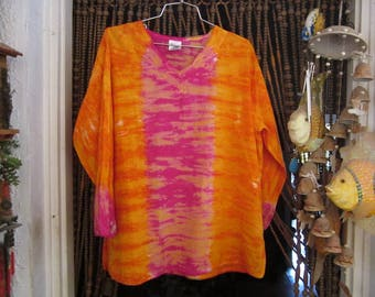 Embroidered Bohemian Orange/Tangerin & Pink Tie Dyed Tunic Top - One Size Plus