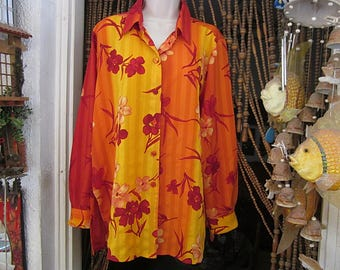 Gorgeous Floral Rayon Tunic Blouse Shaded Burnt Orange / Tangerine & Tones of Red w/ Long Sleeves and Padded Buttons, Vintage - Size XLarge