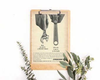 Crescent Wrench Tool Ad • Gray and White Colors • Garage Workbench Photo • Man's Workbench Art • Vintage Tools Ad 1963 Man's Wall Art Gift