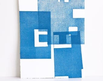 "Fine Art Etching . Minimalist. Blue Print: ""Intersection 16""  Size 15"""" x 18"". unframed"