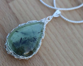 Prehinite Sterling Silver Pendant Semi Precious Gemstone