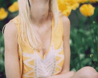 ON SALE Cropped Silk Tank Top Camisole Lingerie Lace / Topaz Citrine Yellow Deco Vintage Jacquard / Extra Large - Geraldine Deco Camisole
