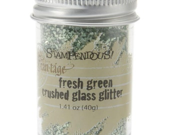 FRESH GREEN Crushed Glass Glitter, Stampendous Frantage, 1.4 oz. jar, for ICE Resin, Scrapbook Embellishment, Mixed Media, cft0049