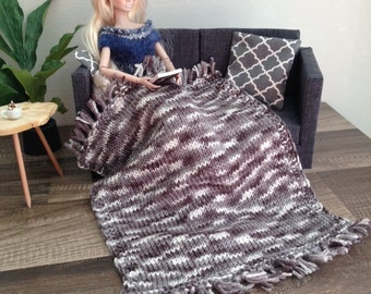 Delicate Knit Patterned Fringe Throw Blanket in Grey and Ivory for sixth scale diorama or doll house