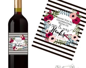 Wedding Wine Label - Custom Wine Label - Personalized Wine Label - Wedding Wine Bottle Label - Table Decor - Wedding Favors - Thank You