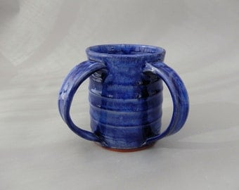 Handmade Washing  Cup - Blue Pottery Traditional Washing Cup -  Negel Vasser