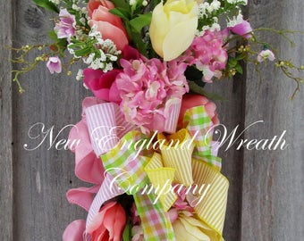 Floral Swag, Spring Wreath, Country French Wreath, Victorian Swag, Mother's Day Gift, Tulip Wreath, Elegant Swag, Designer Spring Wreath
