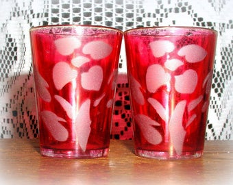 Vintage Cranberry Flash Floral Etched Shot Glasses 1950's Mid Century Elegant Barware