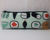 """Padded Pipe Pouch, Sushi Party Pouch, Glass Pipe Bag, Pipe Case, Padded Pipe Cozy, Vape Pen Bag, Stoner Gift, 420 Bag, Cute Bag - 7.5"""" LARGE"""