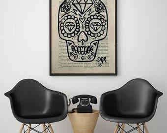 Sugar Skull Simple Outline Minimalist acrylic painting Day of the Dead Dia De Los Muertos Original Artwork Wall Art Vintage Modern original