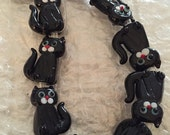 """CLEARANCE Black Cat Glass Beads 10 Beads Double Sided 1"""" x  3/4"""" Halloween"""