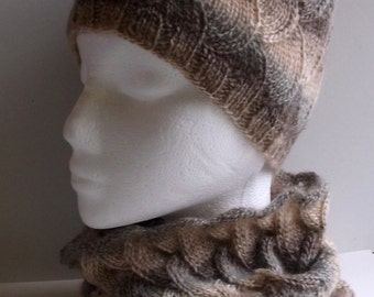 Women's hand knitted infinity cowl neckwarmer and beanie hat set. Brown shades