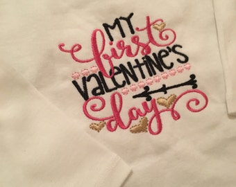 My First Valentine's Day Onesies | Girlie |