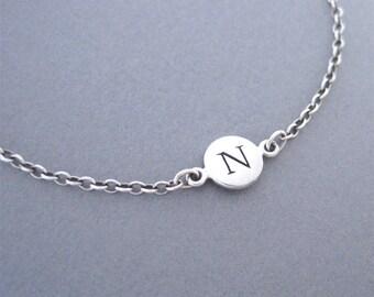 Initial N Charm Bracelet, Silver Charm Bracelet Letter N, Silver Bracelet, Slver Initial Bracelet, Initial, N