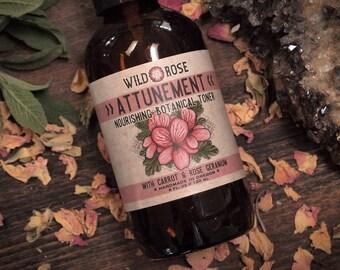 Facial Toner Herbal ATTUNEMENT - Nourishing Astringent with Carrot & Rose Geranium - 120ml // 4oz