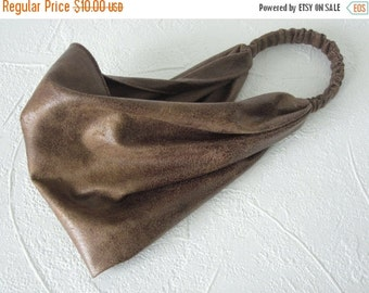 HEADBAND SALE Headband Cocoa Brown Distressed Microsuede Leather Biker Hippie Head Wrap for Men or Women Handmade Hair Scarf by Thimbledoodl