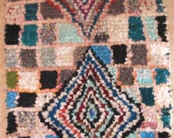 "280X130 cm 9'2"" x 4'3""      L30252 boucherouite , boucharouette,  moroccan rugs , berber rugs, morocco carpets"