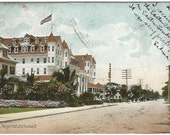 Miami Florida Halcyon Hall and Avenue B Old Street Scene 100 years ago 1907 Vintage Postcard Undivided Back Postcard