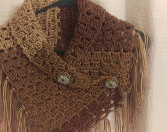 Buttoned fringe cowl - Native American Dream Catcher Buttons