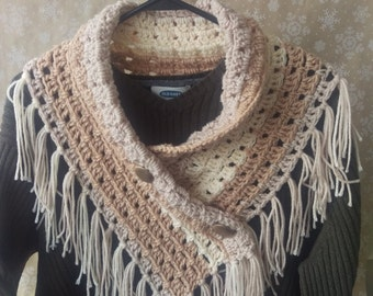 Fringed Button Cowl - Scarf - Gold Vintage Buttons - Tan and Cream