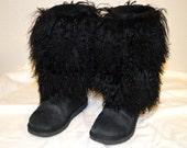 Ugg Australia Sheepskin Mongolian Hair Tall Fur Cuff Boots / Black / Authentic / Tag #3166 /Used