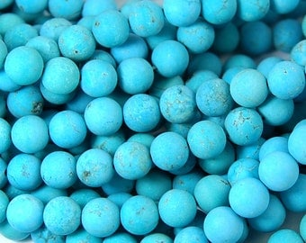 6mm Matte Turquoise Howlite Round Beads-15 inch strand