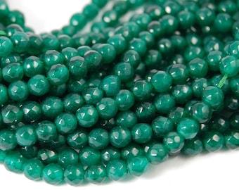 4mm Dark Spring Green Jade Faceted Round  -15 inch strand