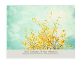 2017 Wall Calendar - nature photography floral botanical wall calendar flower pretty hostess gift wall calender blue 2017 monthly planner